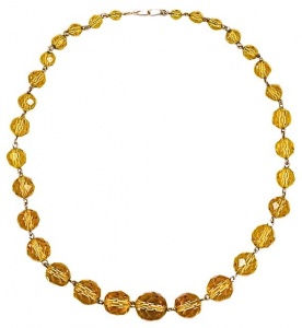 Vintage Gold Tone and Amber Glass Bead Necklace