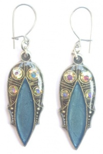 Pierre Bex Art Deco style Aurora Borealis & Blue Enamel Earrings