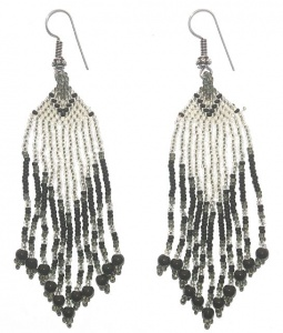 Black and Silvery White Glass Bead Chandelier Earrings