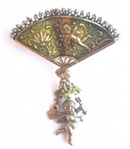Vintage Fan and Cupid Brooch by Pilgrim