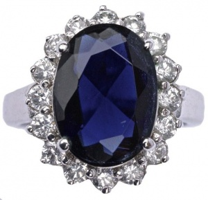 Vintage Silver Tone Dark Blue Glass and Clear Diamante Ring