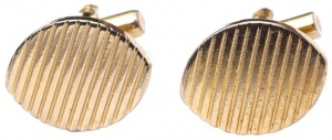 Vintage 1970s Gold Plated Oval Ridged Cufflinks