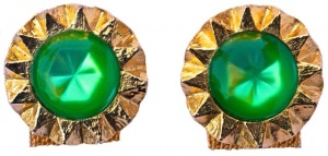 Vintage Gold Plated Round Green Star Mesh Wrap Cufflinks