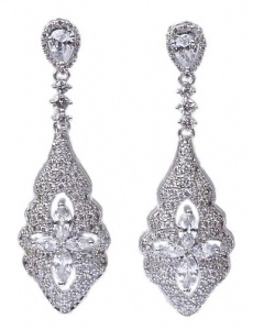 Modern Vintage Style White Gold Plated Crystal Drop Earrings