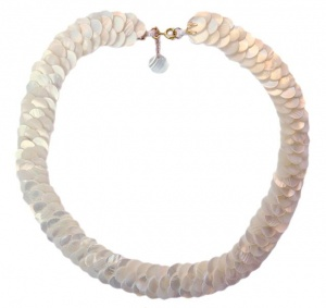 Mother of Pearl 1970s Triple Layer Collar Necklace