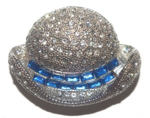 Vintage Azure Blue and Clear Diamante Hat Brooch
