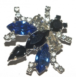 Vintage Blue Glass Fly Brooch
