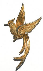 Vintage Gold Plated Bird of Paradise Brooch