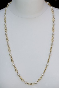 Vintage Gold Plated Faux Pearl Necklace by Napier