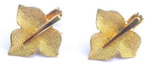 Vintage Gold Plated Ivy Leaf Earrings