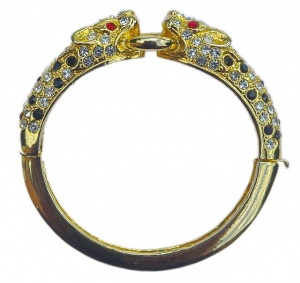 Vintage Gold Plated Jewelled Leopard Bangle