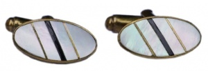 Vintage Gold Tone Oval Mother of Pearl Stripe Cufflinks