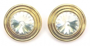 Vintage Gold Tone and Clear Rivoli Earrings