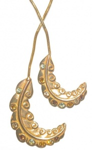 Vintage Gold Tone and Jewel Necklace by Lanvin