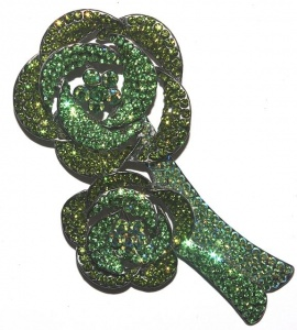 Vintage Green Flower Brooch by Butler & Wilson