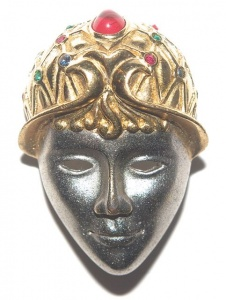 Vintage Mask Face Brooch by Gontie
