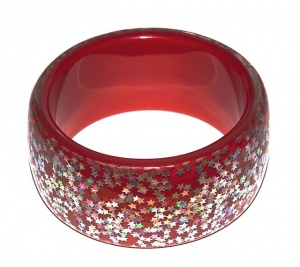 Vintage Red Lucite Bangle with Silver Confetti Stars