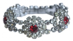 Vintage Ruby Red and Clear Rhinestone Bracelet, circa 1950s