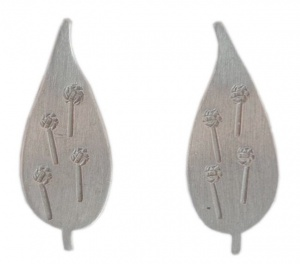 Vintage Silver Tone Norway Leaf Earrings