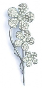 Vintage Silver Tone and Diamante Flower Brooch