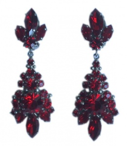 Vintage Silver Tone and Ruby Red Drop Earrings, circa 1950s