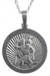 Vintage Sterling Silver St. Christopher Pendant, circa 1970s