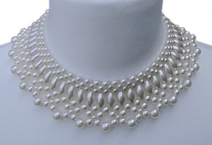 Vintage White Faux Pearl Collar Necklace