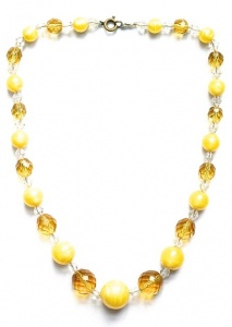 Vintage Yellow and Amber Glass Necklace