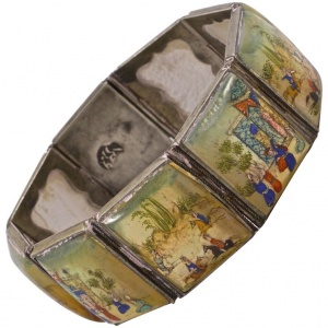 Arabic Mother of Pearl Painted Lacquered Panel Story Bracelet
