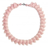 1930s Early Plastic Pink Heart Vintage Necklace