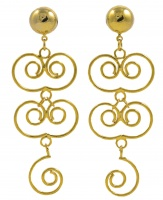 1980s Vintage Golden Swirl Drop Earrings