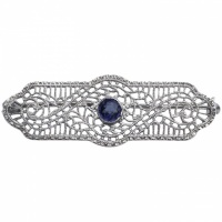 Art Deco 10K White Gold and Faux Sapphire Filigree Brooch