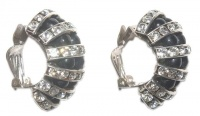 Art Deco Black Glass and Channel Set Diamante Earrings