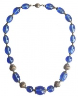 Art Deco Blue Glass Bead Necklace