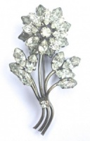 Art Deco Classic Paste Flower Brooch