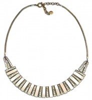Art Deco Mother of Pearl & Rhinestone Necklace by DoSo