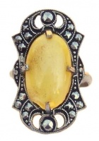 Art Deco Silver Tone Faux Marcasite & Yellow Glass Ring