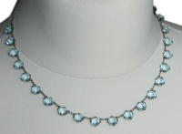 Art Deco Silver Tone & Faceted Blue Glass Necklace
