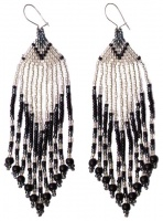 Art Deco style Black & Silvery White Glass Bead Chandelier Earrings