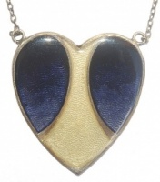 Art Deco style Enamel Heart Necklace by Pierre Bex