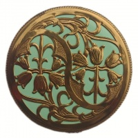 Art Nouveau Copper Tone and Turquoise Compact