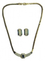 Attwood & Sawyer Blue Crystal and Diamante Necklace and Earrings Set