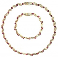 Attwood & Sawyer Red Crystal and Diamante Necklace and Bracelet Set