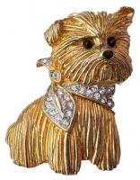 Carven Gold Plated and Diamante Vintage Dog Brooch