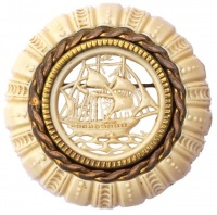 Art Deco Gold Plated Celluloid Cut Out Ship Brooch