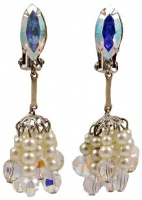 1960s Lewis Segal Aurora Borealis and Faux Pearl Earrings