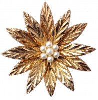 Gold Plated and Faux Pearl Flower Brooch, circa 1960s