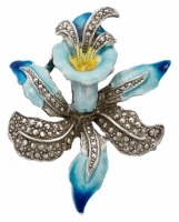 Vintage Silver Tone Blue Enamel and Marcasite Orchid Brooch