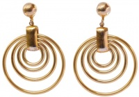 Vintage Gold Tone Multi Drop Hoop and Ball Earrings