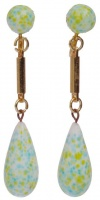 Gold Plated White, Yellow & Turquoise Glass Drop Earrings